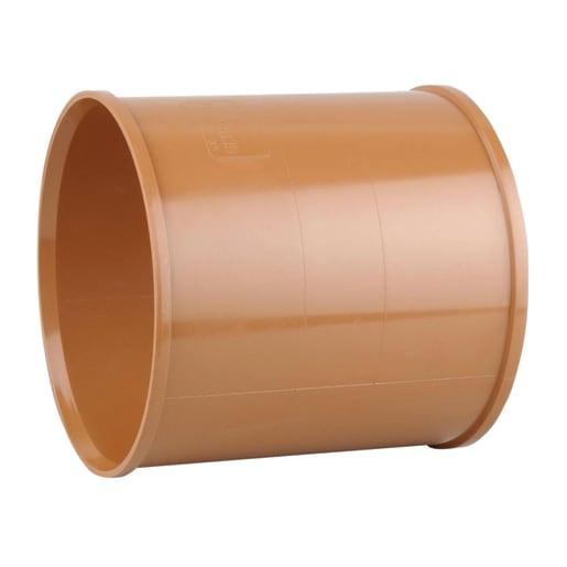 Osma UltraRib Double Socket Slip Coupler 300mm Brown
