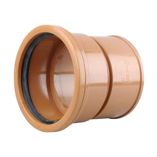 Osma UltraRib Double Socket Adaptor 150mm Brown