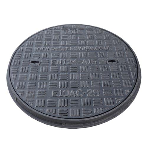 EJ Cast Iron Manhole Cover and Frame A15 450mm Black