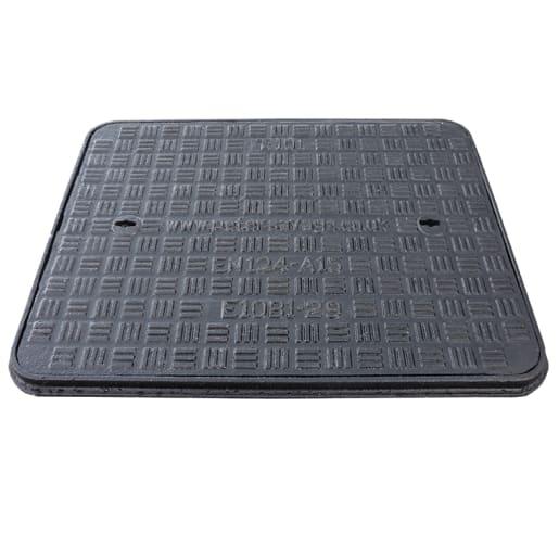 EJ Cast Iron Manhole Cover and Frame A15 600 x 450mm Black