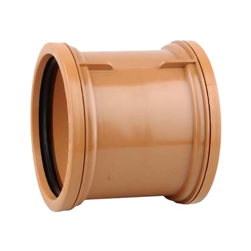 OsmaDrain Double Socket Pipe Coupler 110mm Brown