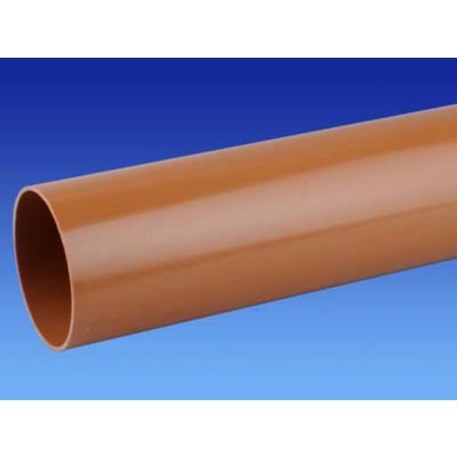 OsmaDrain Plain Ended Pipe 6m x 160mm Brown