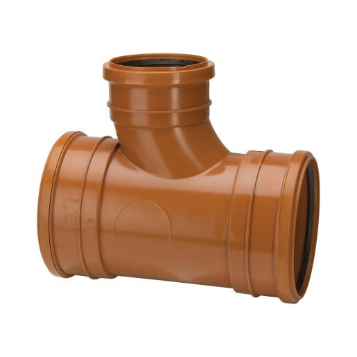 Polypipe Drain Triple Socket Unequal Junction 160mm Terracotta