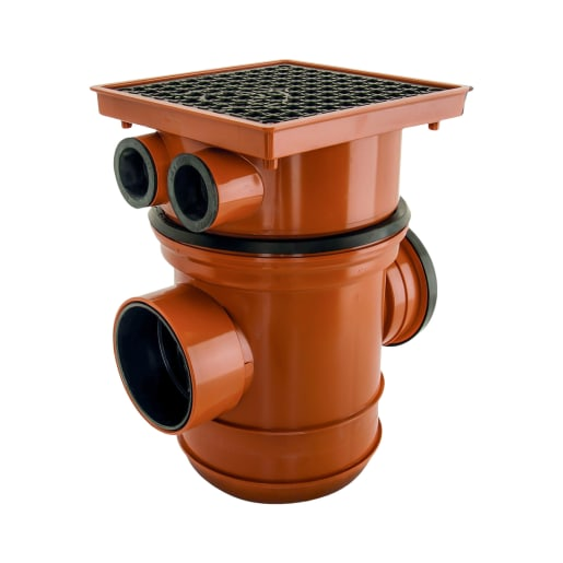 Polypipe Back Inlet Bottle Gully Square Top 110mm
