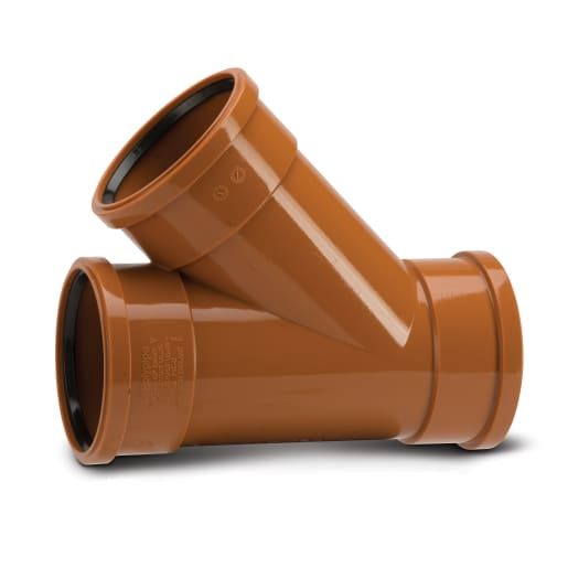 Polypipe Drain 45° Triple Socket Equal Junction 160mm Terracotta