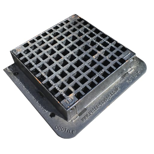 EJ D400 Pedestrian Hinged Gully Grating and Frame 420 x 420mm