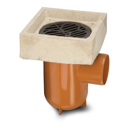 Polypipe Drain Bottle Gully with Anti Splash Surround 110mm Terracotta