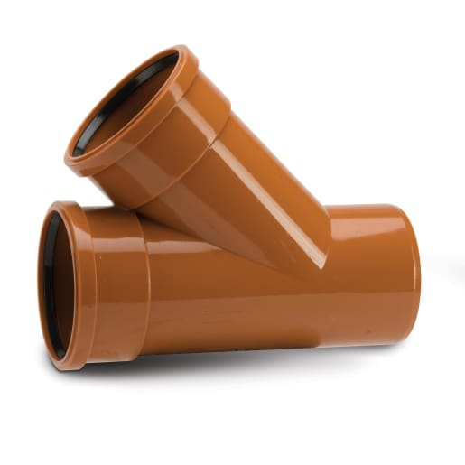 Polypipe Drain 45° Double Socket Equal Junction 160mm Terracotta