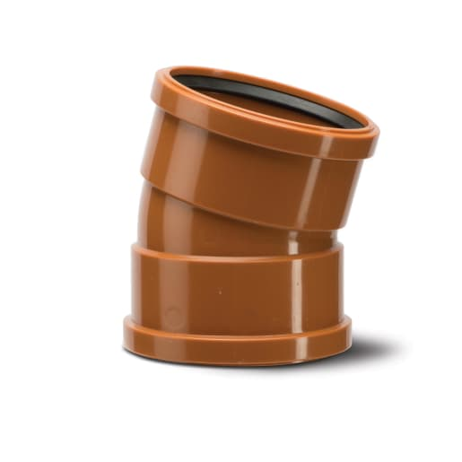 Polypipe Drain 15° Double Socket Bend 160mm Terracotta
