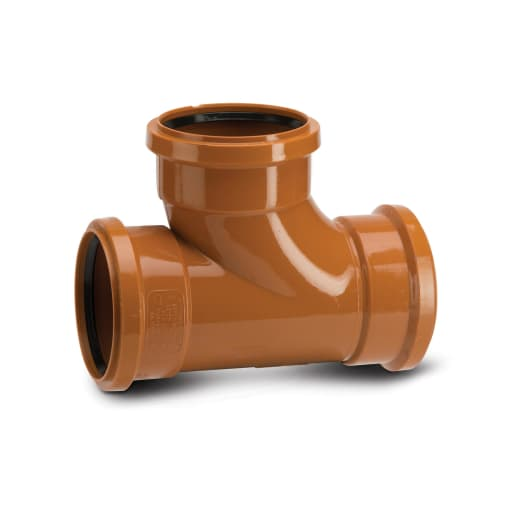 Polypipe Drain 87.5° Triple Socket Equal Junction 160mm Terracotta