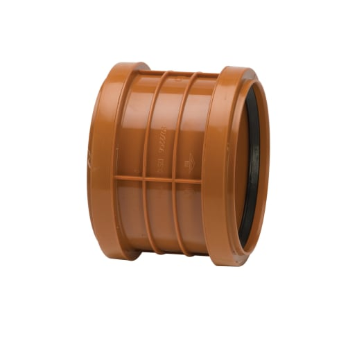 Polypipe Polyrib Double Socket Coupler 110mm Terracotta