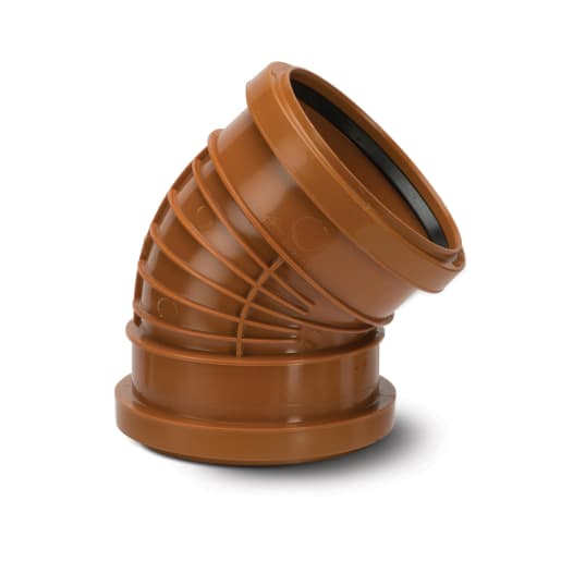Polypipe Polyrib 45° Double Socket Bend 110mm Terracotta