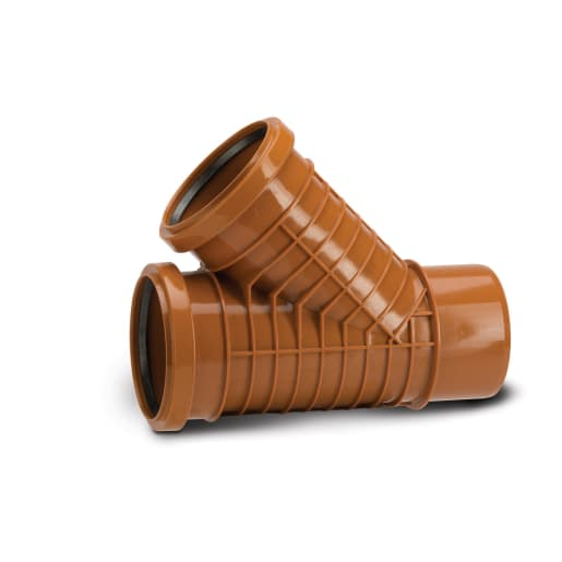 Polypipe Polyrib 45° Double Socket Equal Junction 110mm Terracotta