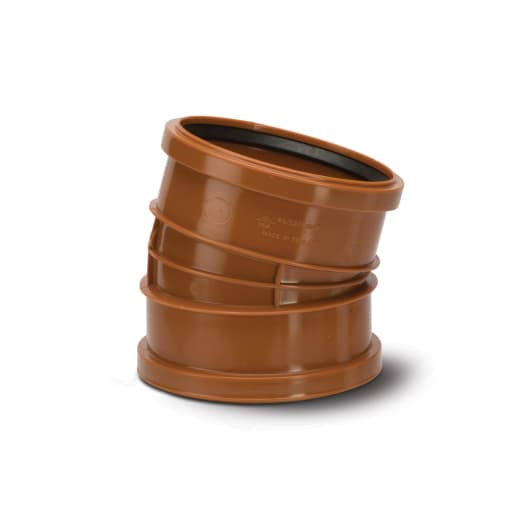 Polypipe Polyrib 15° Double Socket Bend 110mm Terracotta