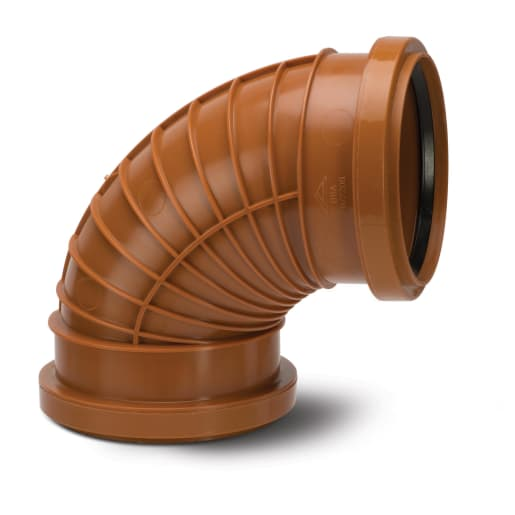 Polypipe Polyrib 87.5° Double Socket Bend 110mm Terracotta