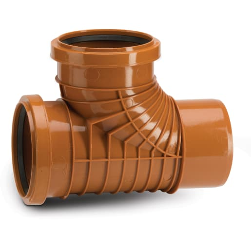 Polypipe Polyrib 87.5° Double Socket Equal Junction 110mm Terracotta