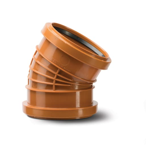 Polypipe Polyrib 30° Double Socket Bend 110mm Terracotta