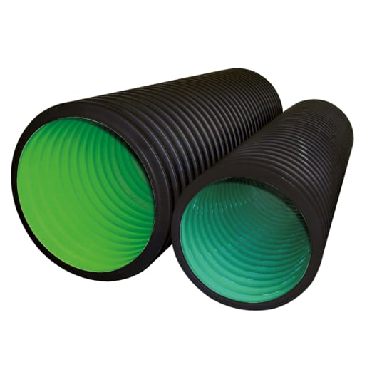 Naylor Metro Drain Perforated Twinwall Pipe 6m x 225mm Black