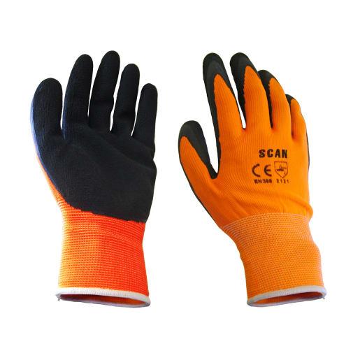 Scan Foam Latex Coated Gloves L Orange