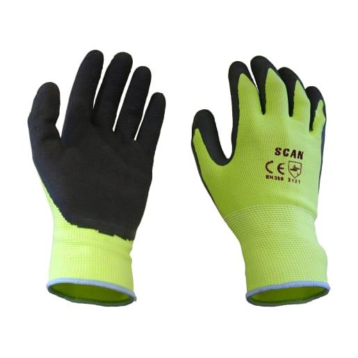 Scan Foam Latex Coated Gloves XL Yellow