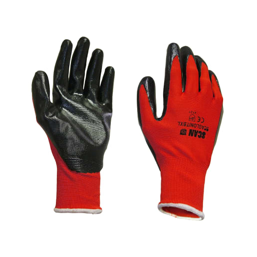 Scan Palm Dipped Nitrile Gloves L Red