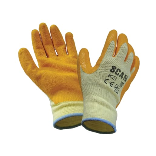 Scan Knitshell Palm Latex Gloves L Orange