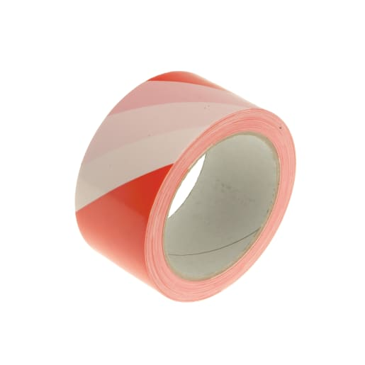 Faithfull Hazard Warning Safety Tape 33m x 50mm Red and White
