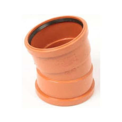 Polypipe Drain 15° Bend Double Socket 110mm Brown