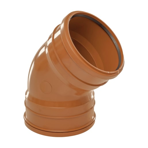 Polypipe Drain 45° Double Socket Bend 110mm Brown