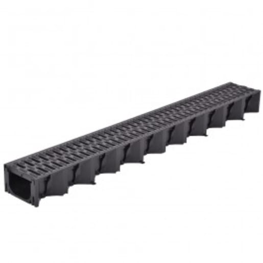 ACO HexDrain Plastic Grating Channel 1m x 125mm Black