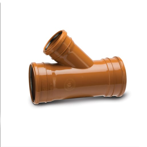 Polypipe Drain 45° Triple Socket Unequal Junction 160mm Terracotta