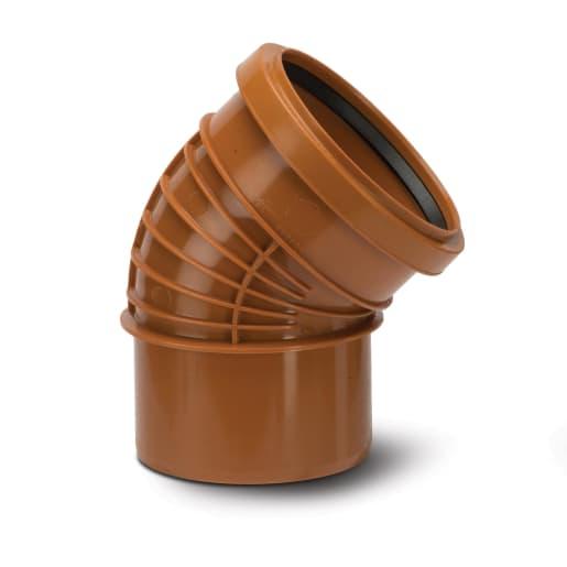 Polypipe Polyrib 45° Single Socket Bend 110mm Terracotta