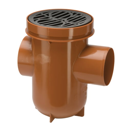Polypipe Drain Back Inlet Bottle Gully 110mm Brown